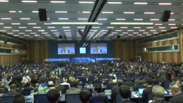 director general of the international atomic energy agency yukiya amano delivers a speech during annual week-long meeting of 60th general conference... - annual general meeting stock videos & royalty-free footage