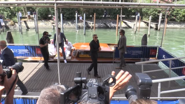 Director George Clooney Matt Damon and Julianne Moore arriving by boat for the Photo Call of Suburbicon at the Venice Film Festival 2017 Saturday...