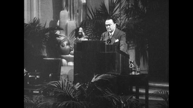 Director J Edgar Hoover behind podium on stage SOT saying law enforcement first line of defense worried about Communist PseudoLiberals seek to weaken...