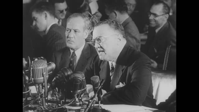 director j. edgar hoover being sworn in at congressional hearing on actions of attorney general herbert brownell in the harry dexter white case /... - 囲む点の映像素材/bロール