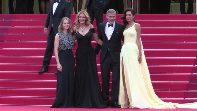 Director Jodie Foster Julia Roberts George Clooney and his wife Amal Alamuddin Dominic West Jack O'Connell Caitrona Balfe and more on the red carpet...