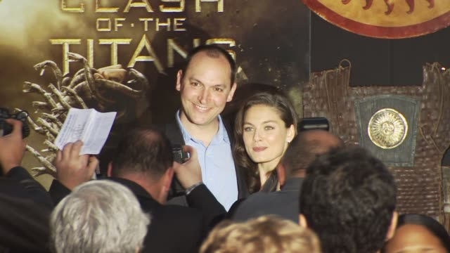 director louis leterrier and alexa davalos at the 'clash of the titans' premiere at hollywood ca - clash of the titans stock videos & royalty-free footage