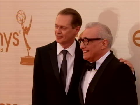 director martin scorsese and actor steve buscemi on the red carpet for 2011 emmy awards. on september 18 the 63rd annual primetime emmy awards,... - music or celebrities or fashion or film industry or film premiere or youth culture or novelty item or vacations点の映像素材/bロール