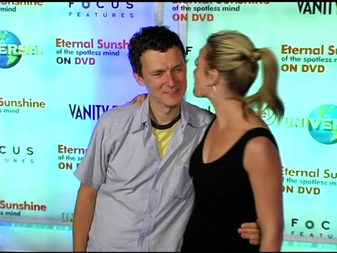 director michel gondry and kate winslet at the 'eternal sunshine of the spotless mind' dvd launch party at the los angeles county museum of art in... - ロサンゼルスカウンティ美術館点の映像素材/bロール