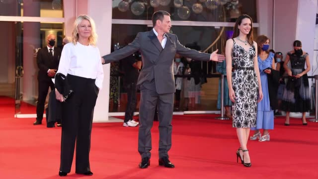venice italy september 03 director nicole garcia benoit magimel and stacy martin walk the red carpet ahead of the movie amants at the 77th venice... - gif stock videos & royalty-free footage