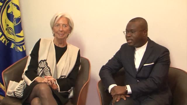 director of the imf christine lagarde arrives in cotonou benin where she meets with the country's finance minister romuald wadagny - benin stock videos and b-roll footage