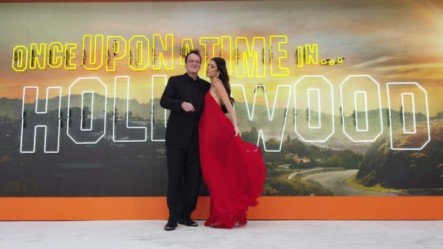 director quentin tarantino and daniella tarantino attend 'once upon a time in hollywood' uk premiere at the odeon luxe leicester square on july 30... - luxury stock videos & royalty-free footage