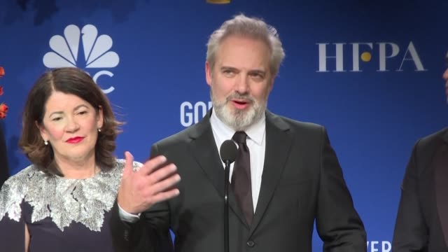 director sam mendes who bested scorsese and tarantino in the crowded best director category at this year's golden globes thanks steven spielberg for... - sam mendes stock videos & royalty-free footage