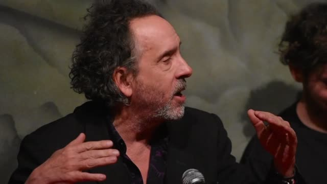 Director Tim Burton is seen during a press conference as part of the activities of his visit to promote 'The World of Tim Burton' Exhibition at...