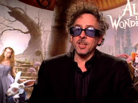 Director Tim Burton on his 7th film with Johnny Depp and their working relationship at the Alice In Wonderland Interviews at London England