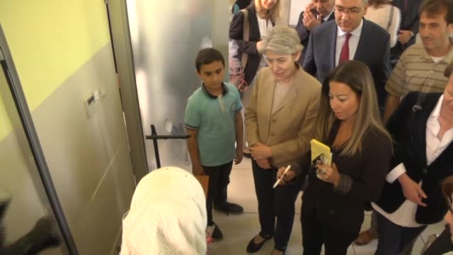 directorgeneral of unesco irina bokova pays a visit at a school which is in refugee camp of gaziantep turkey on may 25 2016 - unesco stock videos & royalty-free footage