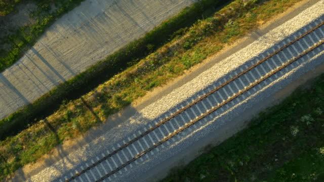 空から見た未舗装道路、線路に
