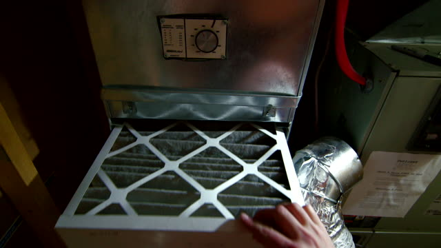 dirty air filter in central heating system - air duct stock videos & royalty-free footage