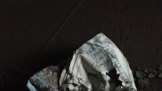ms zo dirty american flag leaning over muddy pew in ninth ward church/ new orleans, louisiana - hurricane katrina stock videos and b-roll footage