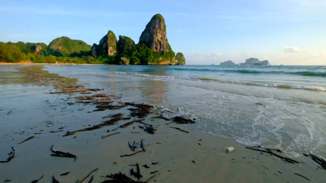 dirty and environment pollution at railay beach, krabi, thailand - biohazard symbol stock videos and b-roll footage