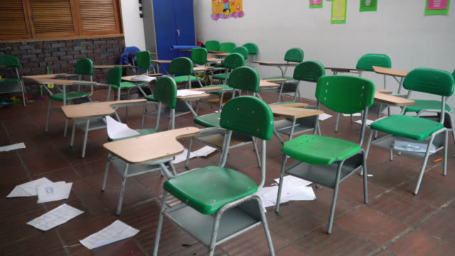 dirty classroom full of papers on floor but no people - first day of school stock videos & royalty-free footage