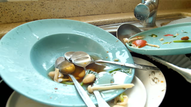dirty dishes in kitchen - hygiene stock videos & royalty-free footage