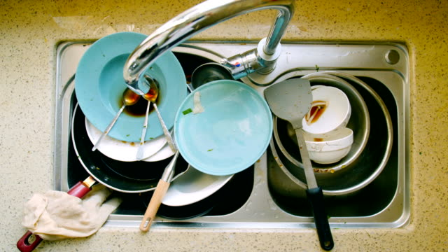 dirty dishes - stack stock videos & royalty-free footage