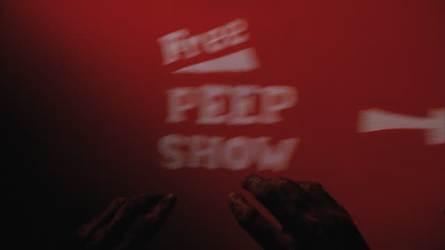 cu pov dirty hands reaching towards free peep show curtain / new york city, new york, usa - imperfection stock videos and b-roll footage