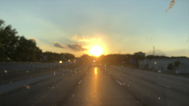 dirty windshield at sunset - imperfection stock videos & royalty-free footage