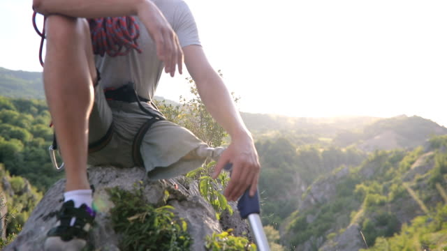 disability guy climber relaxing - physical disability stock videos & royalty-free footage