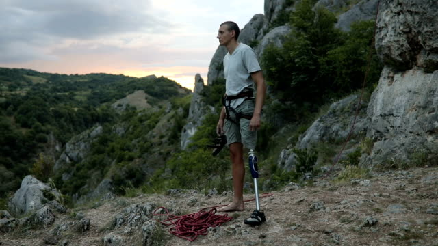 disability guy finished climbing - prosthetic equipment stock videos & royalty-free footage