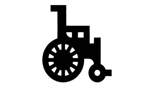 disability hiring line drawing & ink splatter animation with alpha - disability icon stock videos & royalty-free footage