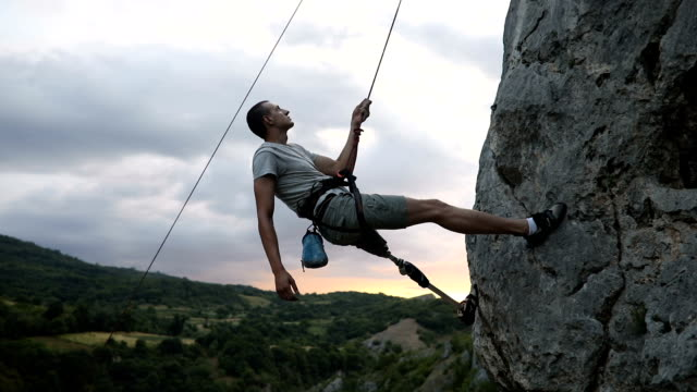 disability man adrenaline junkie - rope stock videos & royalty-free footage