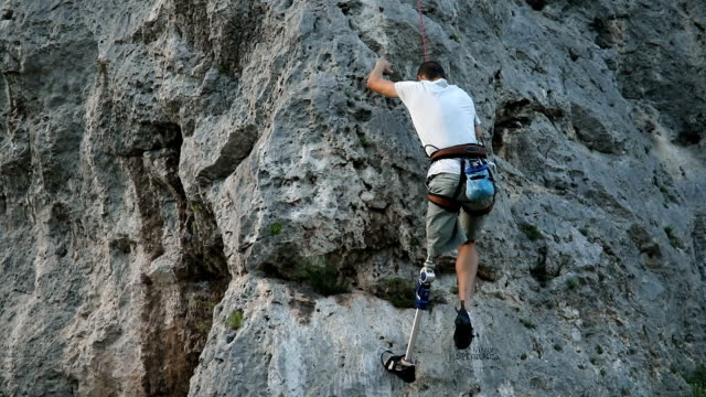 disability man going climbing - rock climbing stock videos & royalty-free footage