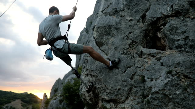 disability man loves adrenaline - rock climbing stock videos & royalty-free footage
