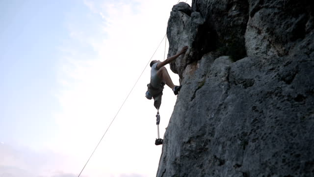 disability man loves climbing - physical disability stock videos & royalty-free footage