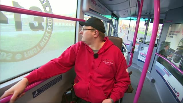 wheelchair user wins supreme court battle against bus company; lib yorkshire: int bus view from bus window as along paulley in wheelchair in disabled... - bay window stock videos & royalty-free footage