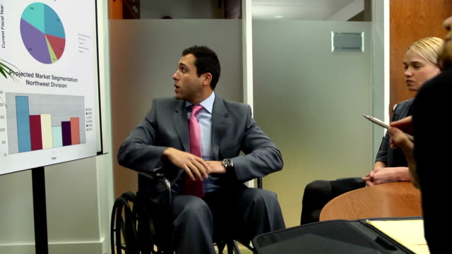 disabled businessman makes presentation - ms var - poster stock videos & royalty-free footage