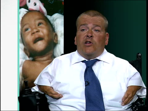 disabled child visa row england london freddie astbury president thalidomide uk] interview sot the reason they do not want that baby here is because... - babies in a row stock videos & royalty-free footage