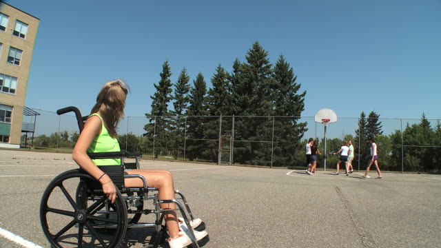 hd: disabled girl - wheelchair basketball stock videos and b-roll footage