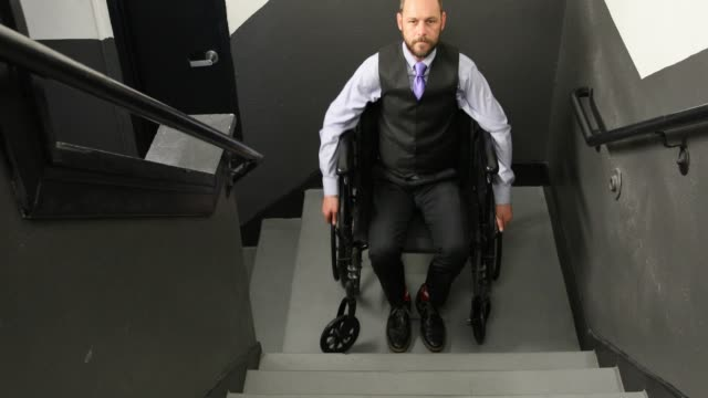 disabled man and stairs - trapped stock videos & royalty-free footage