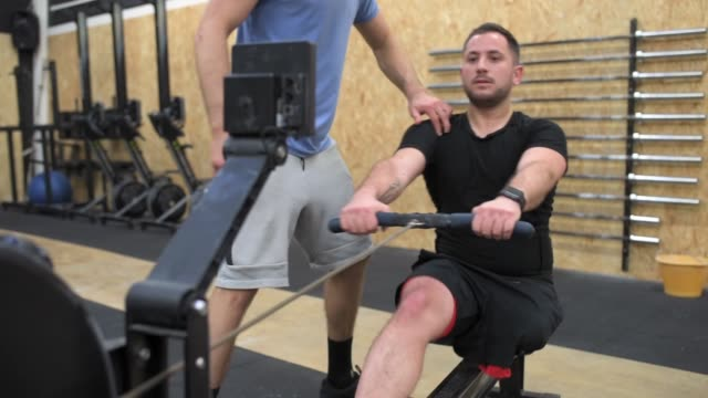 Disabled man exercising