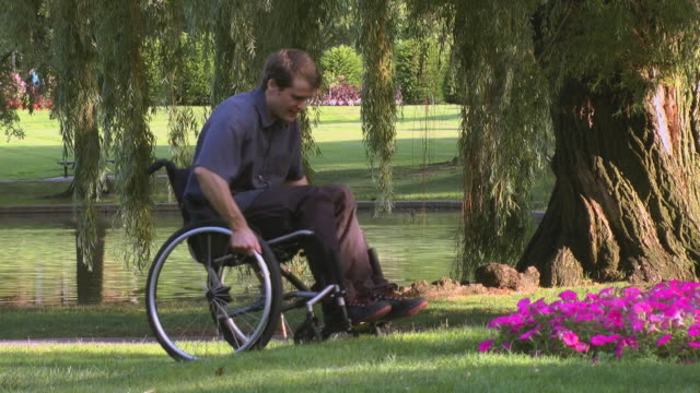 A disabled man with a spinal cord injury moves his wheelchair next to wildflowers in a park.