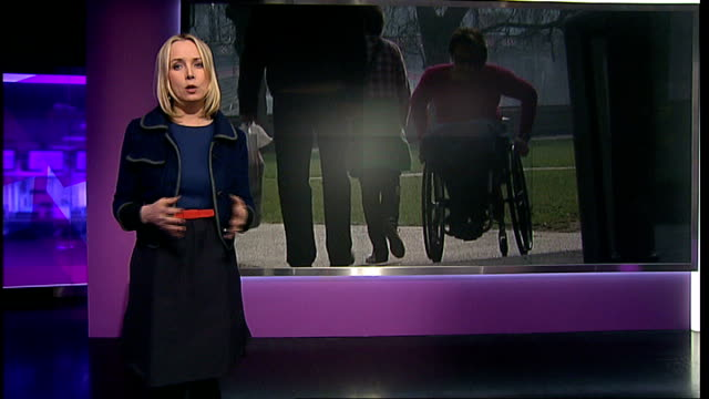disabled passengers campaign for better access: online experiment; england: london: gir: int reporter to camera at video wall itn lib / channel 4... - baroness stock videos & royalty-free footage