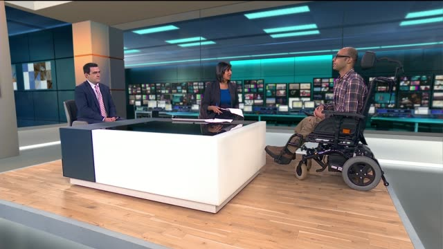 disabled people face discrimination in recruitment process england london girl int alan soady and josh dennis live studio interview sot re... - employment issues stock videos & royalty-free footage
