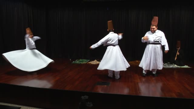 disabled whirling dervishes perform during their practice at a performance hall in ankara turkey on january 06 2017 whirling dervishes suffering... - sufism stock videos & royalty-free footage