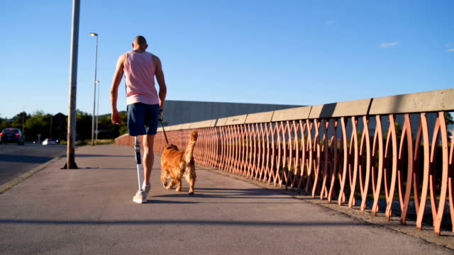 disabled young man walking his dog - reggere video stock e b–roll