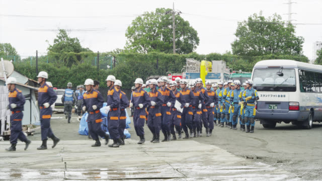 disaster drill and simulated rescue operations held by the tokyo metropolitan government and suginami city on 1923 quake memorial day in tokyo - drill stock videos & royalty-free footage