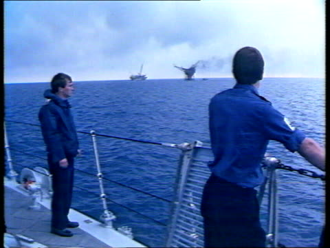 disasters compilation - clip one; tx 7.7.1988: piper alpha oil rig explosion - continued - alpha cell stock videos & royalty-free footage