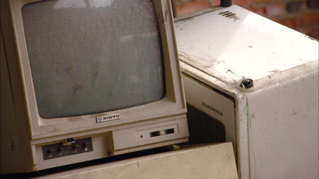 cu discarded computer monitor, beijing, beijing, china - vintage computer monitor stock videos & royalty-free footage