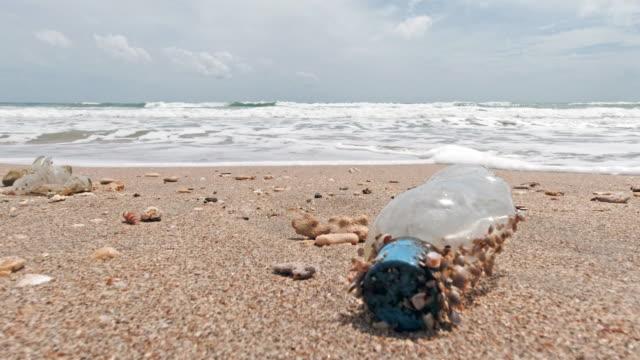 ビーチで廃棄されたプラスチック製の水ボトル汚染 - ウォーターボトル点の映像素材/bロール