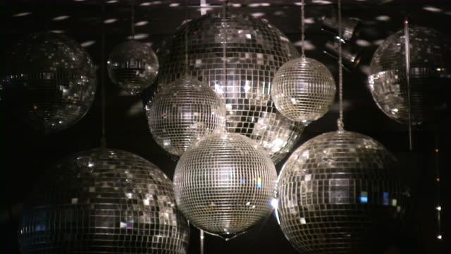 disco ball. night club lighting equipment. - mirror ball stock videos & royalty-free footage