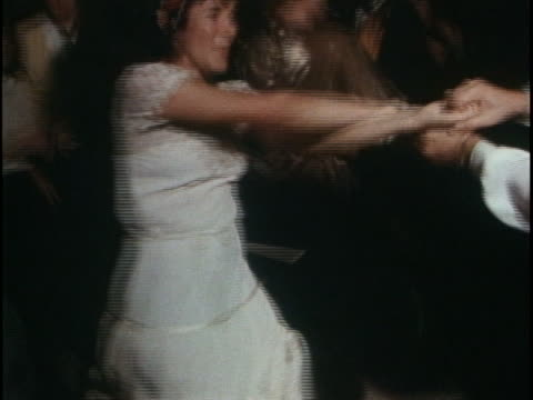 disco dancing by people in crowd at the saturday night fever premiere party - disco dancing stock videos & royalty-free footage