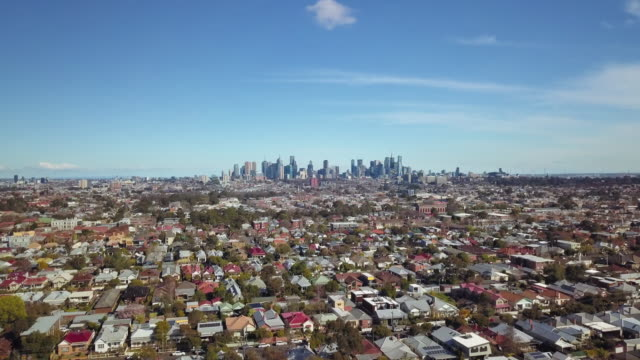 Discovering Australia: Aerial view of Melbourne skyline and northern suburbs