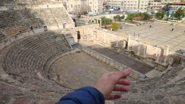 discovering the beautiful amphitheater of the amman city. - monument stock videos & royalty-free footage